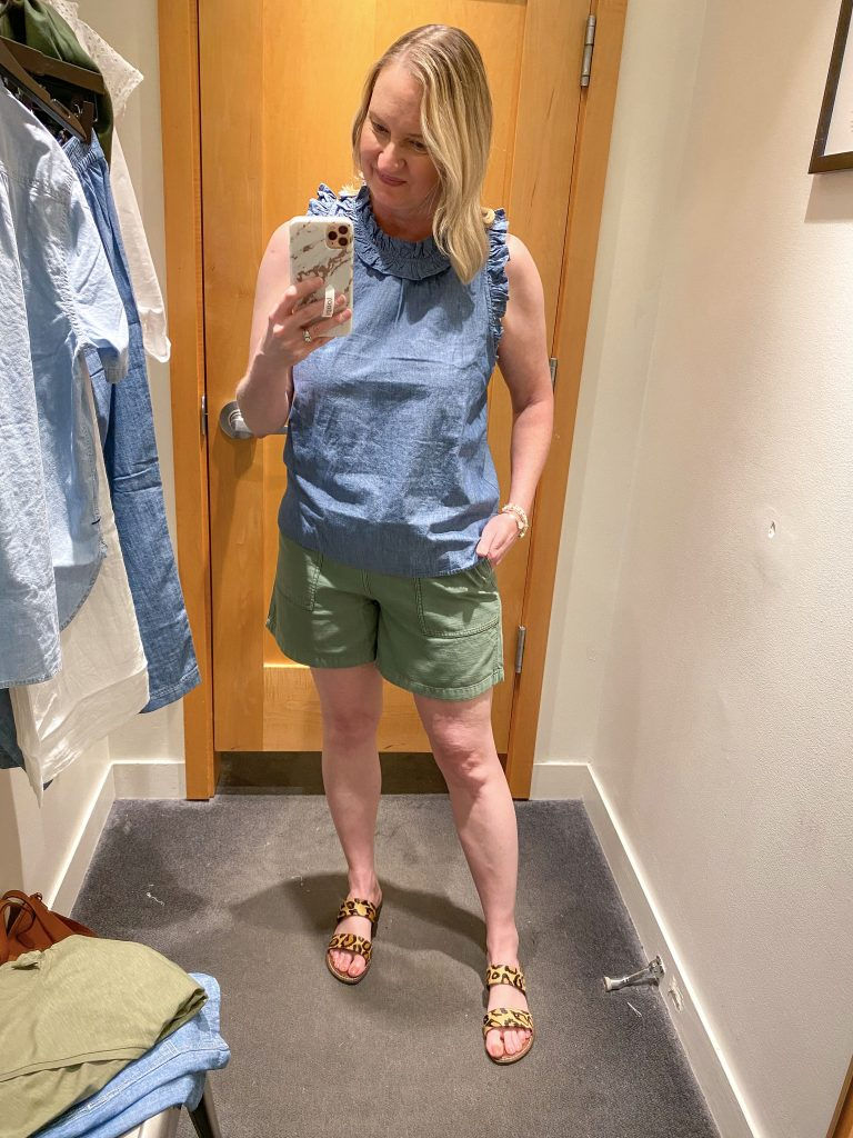 J Crew Try-On Reviews June2021 - chambray tank green shorts