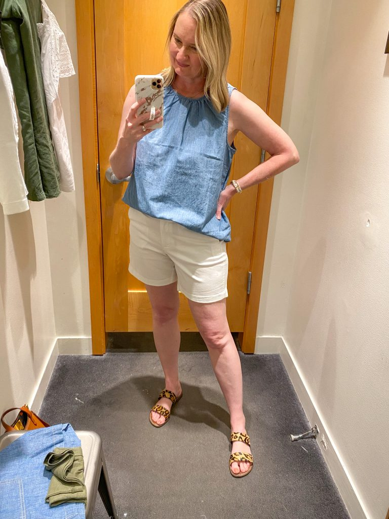J Crew Try-On Reviews June2021 - chambray tank white shorts