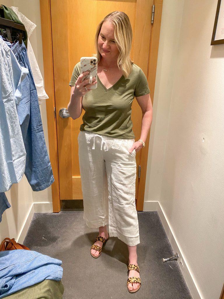 J Crew Try-On Reviews June2021 - green tee white linen pants