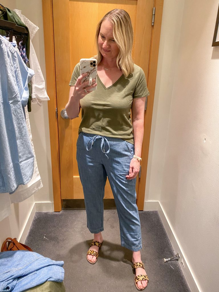 J Crew Try-On Reviews June2021 - olive tee chambray pants