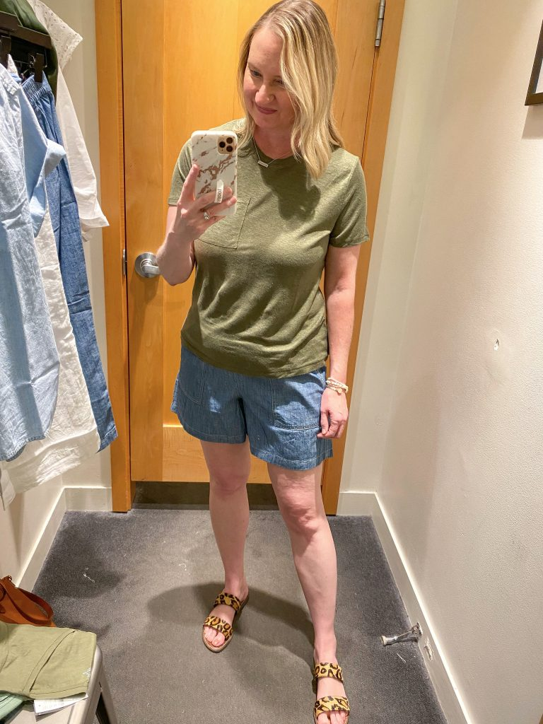 J Crew Try-On Reviews June2021 - olive tee chambray shorts