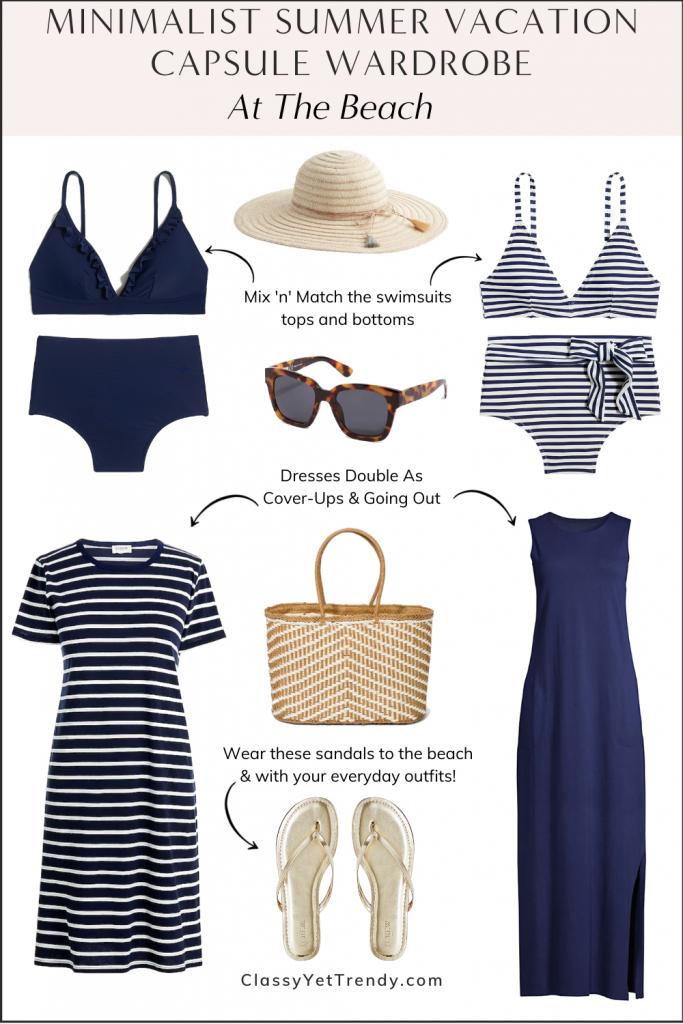 Minimalist Summer Beach Vacation Capsule Wardrobe 2021 - At The Beach
