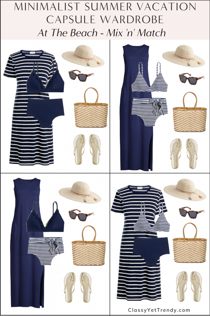 Minimalist Summer Beach Vacation Capsule Wardrobe 2021 - At The Beach Mix and Match