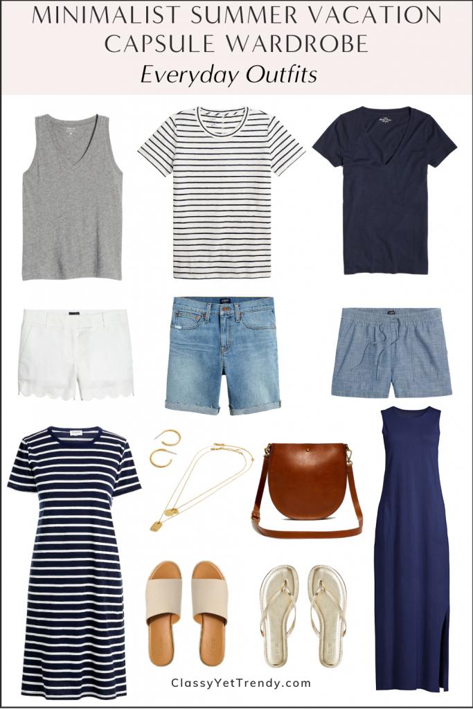 Minimalist Summer Beach Vacation Capsule Wardrobe 2021 - Everyday Outfits