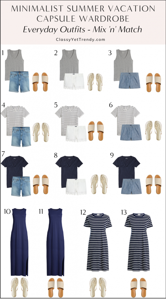 Minimalist Summer Beach Vacation Capsule Wardrobe 2021 - Everyday Outfits Mix 'n' Match