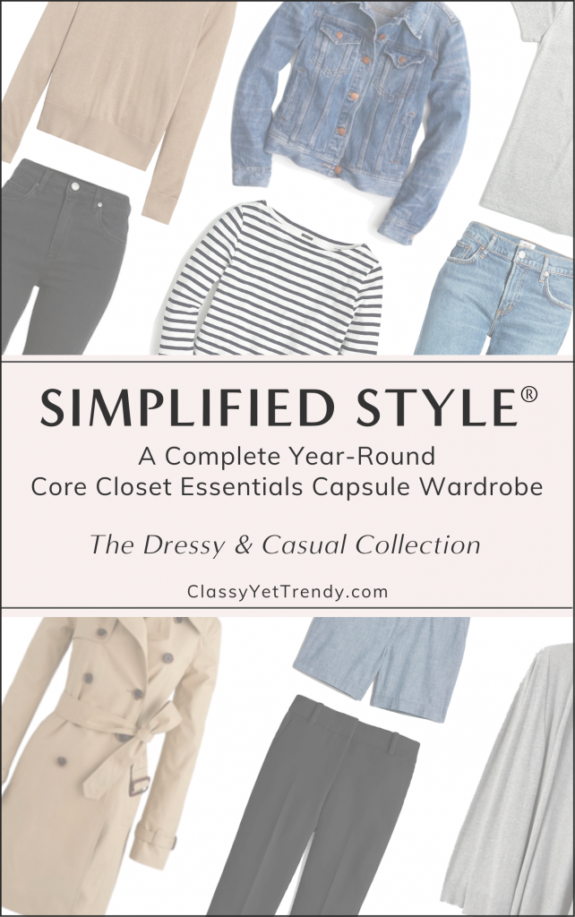 Simplified Style - Dressy and Casual Capsule Wardrobe Flatlay Collage