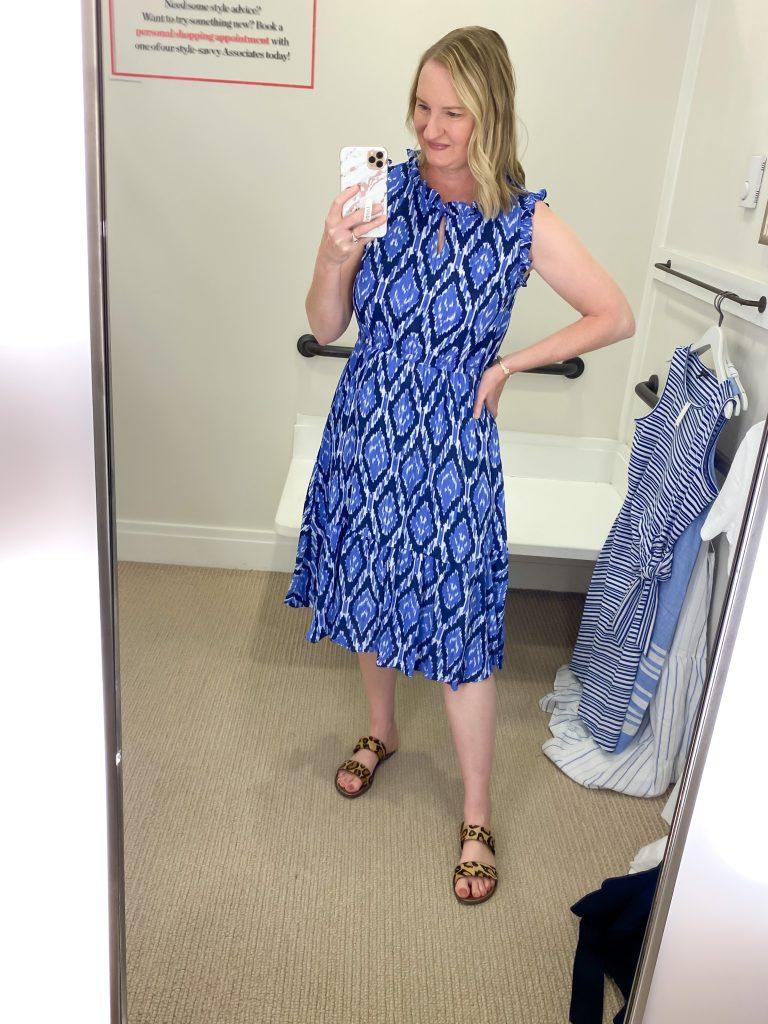 Talbots Try-On Reviews June2021 - blue ikat dress