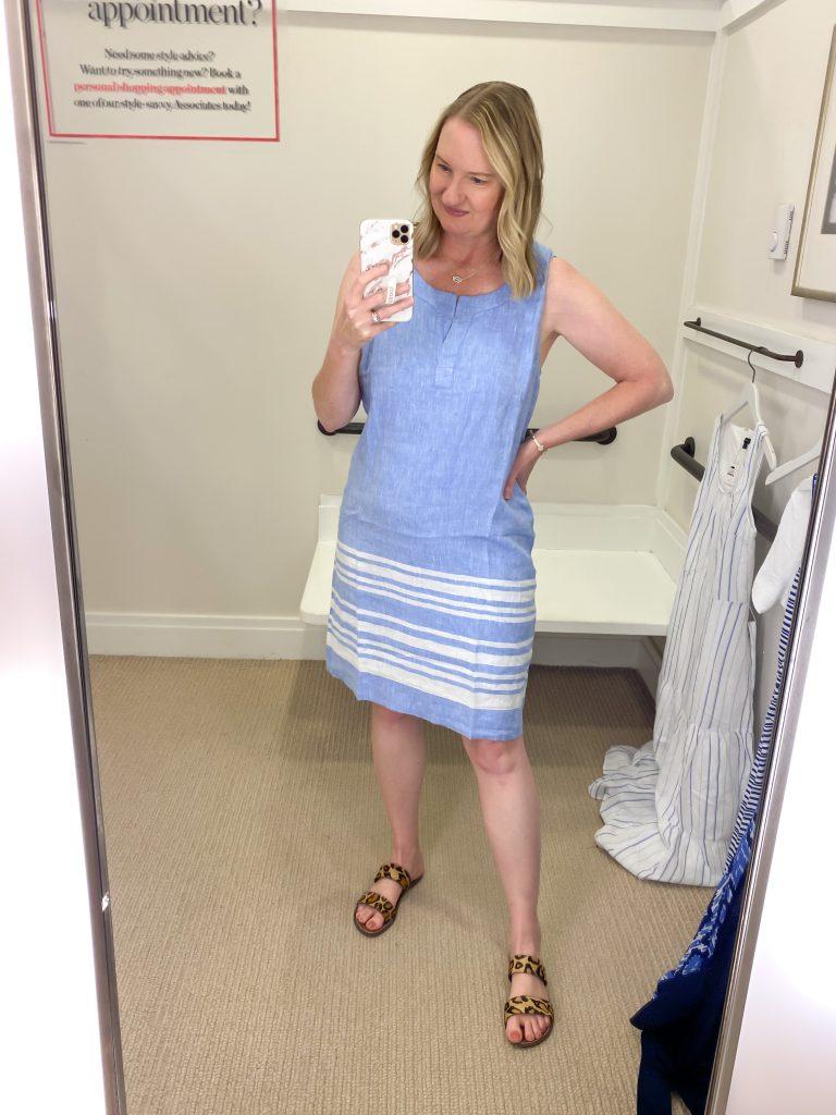 Talbots Try-On Reviews June2021 - blue linen dress