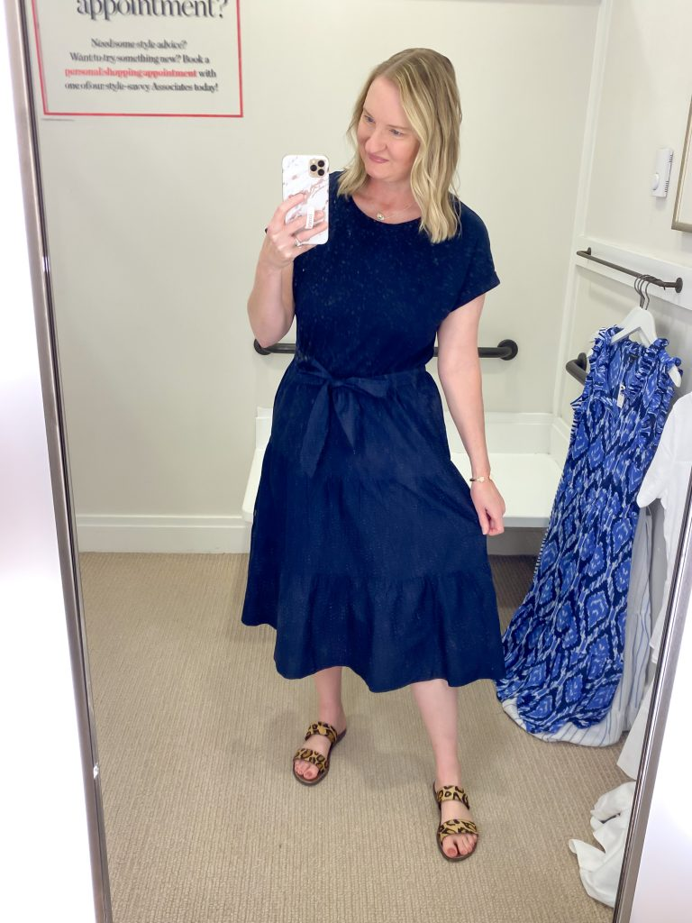 Talbots Try-On Reviews June2021 - navy tiered dress