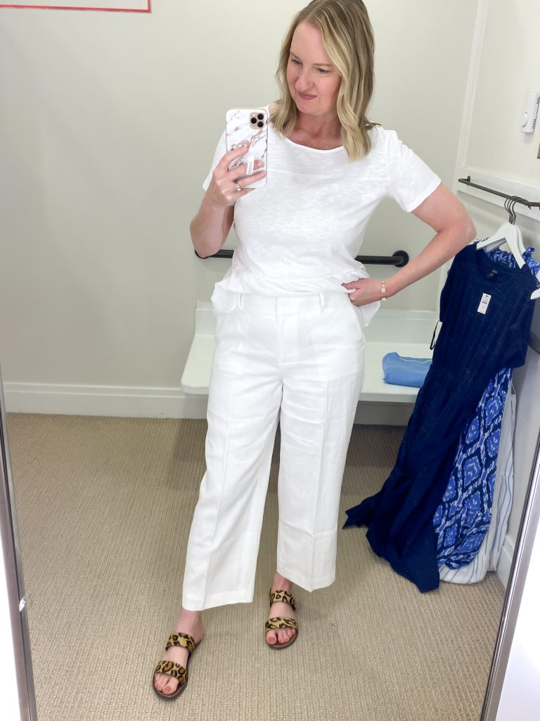 Talbots Try-On Reviews June2021 - white linen pants