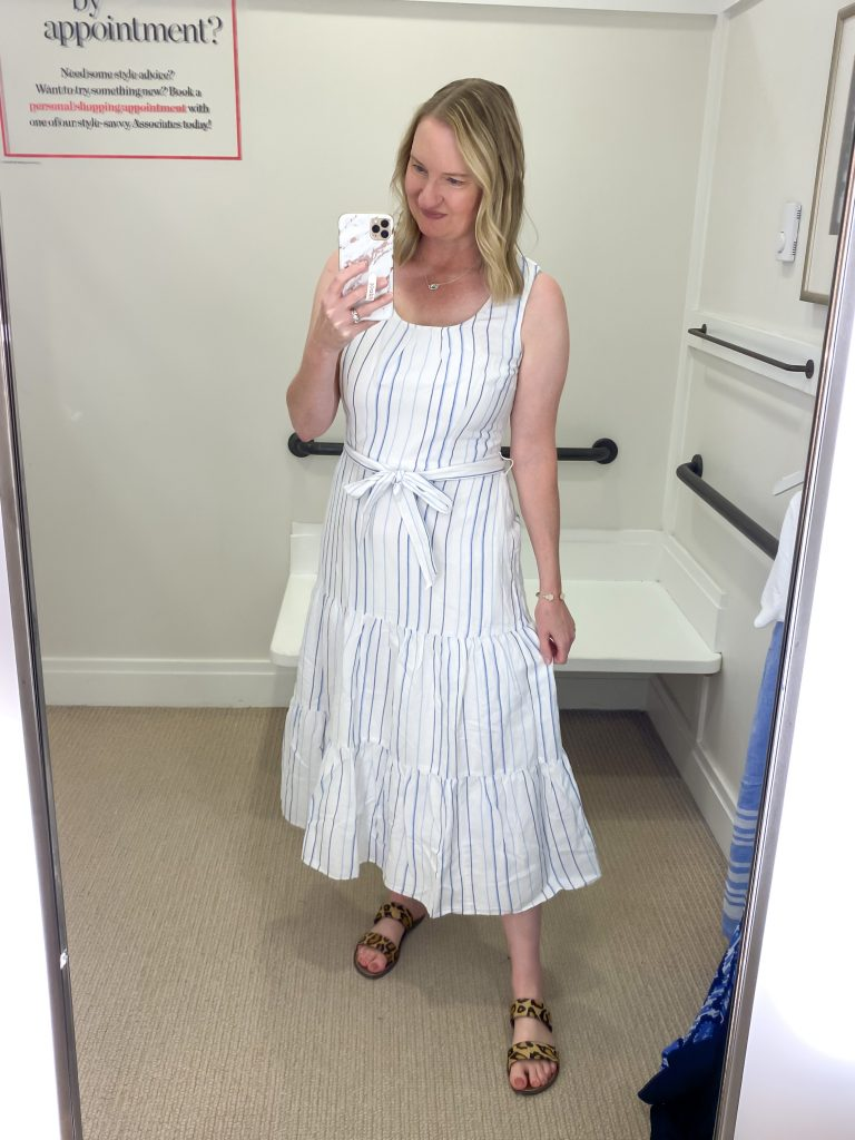 Talbots Try-On Reviews June2021 - white striped dress