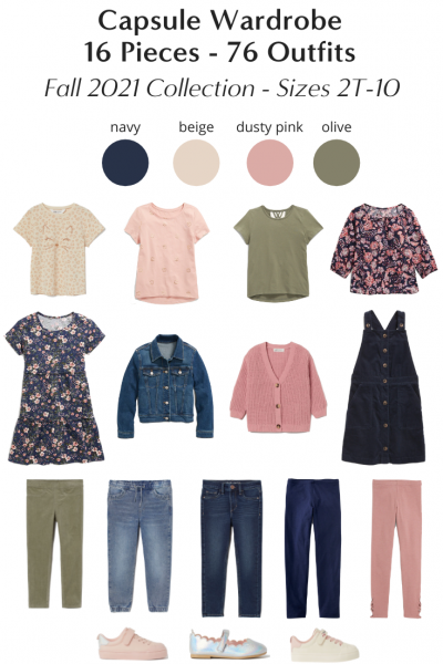 Girls 16-Piece Back To School Capsule Wardrobe 76 Outfits - Fall 2021