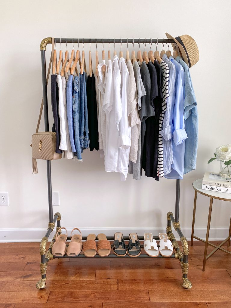 My 25 Piece Summer 2021 Neutral Capsule Wardrobe - clothes rack front with accessories