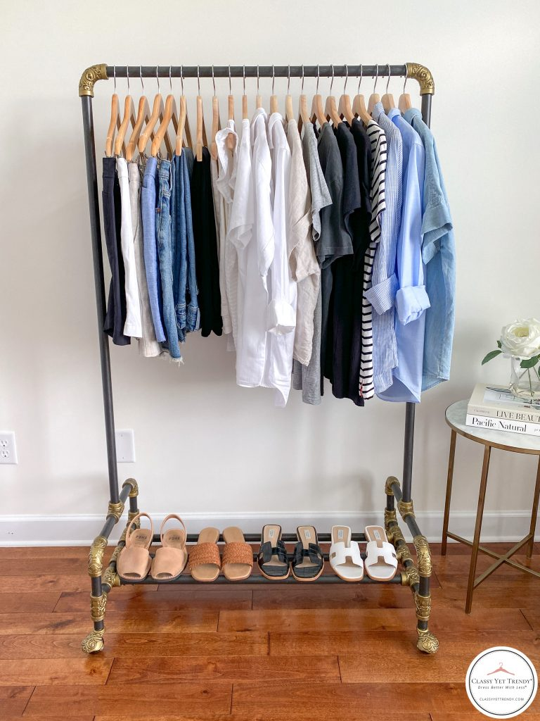 My 25 Piece Summer 2021 Neutral Capsule Wardrobe - front clothes and shoes