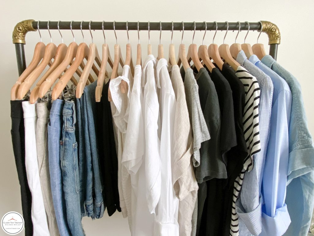 My 25 Piece Summer 2021 Neutral Capsule Wardrobe - front clothes close up