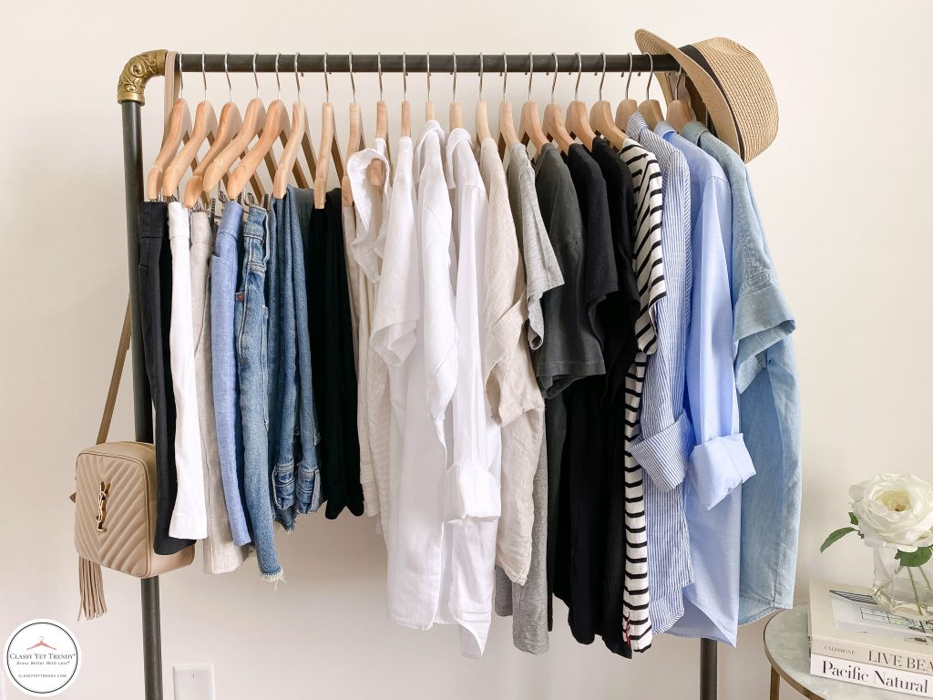 My 25 Piece Summer 2021 Neutral Capsule Wardrobe - front clothes with accessories