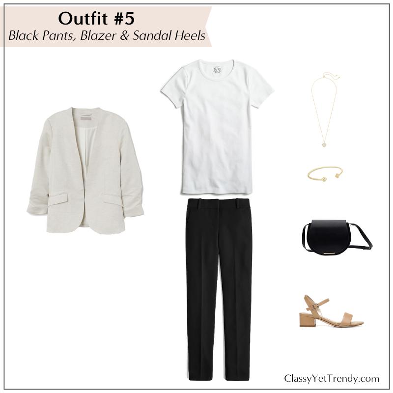 10 WAYS TO WEAR WHITE TEE - BLACK PANTS BLAZER SANDAL HEELS
