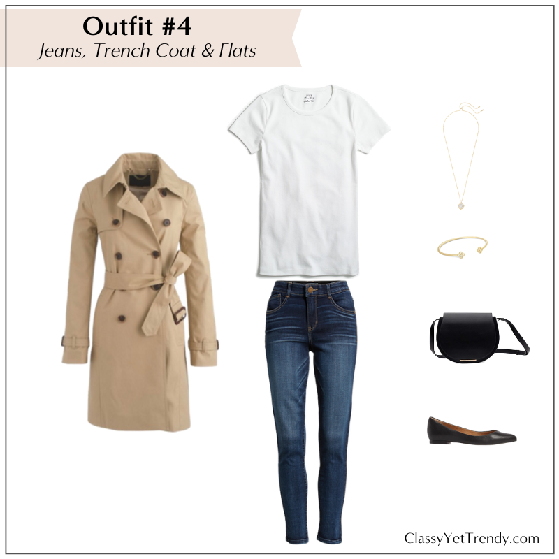 10 WAYS TO WEAR WHITE TEE - JEANS TRENCH COAT FLATS