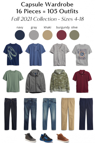 Boys 16-Piece Back To School Capsule Wardrobe 105 Outfits - Fall 2021