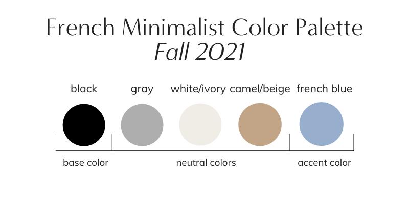 French Minimalist Capsule Wardrobe Fall 2021 Color Palette