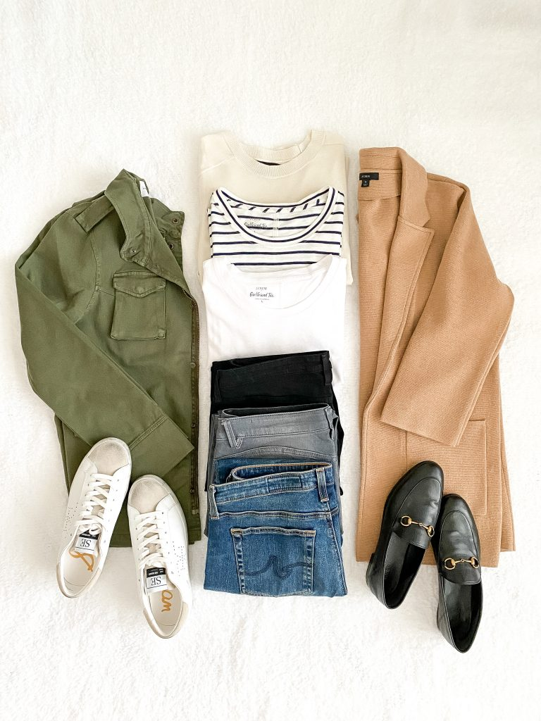 10-PIECE TRAVEL CAPSULE WARDROBE FLATLAY - tops bottoms layers shoes