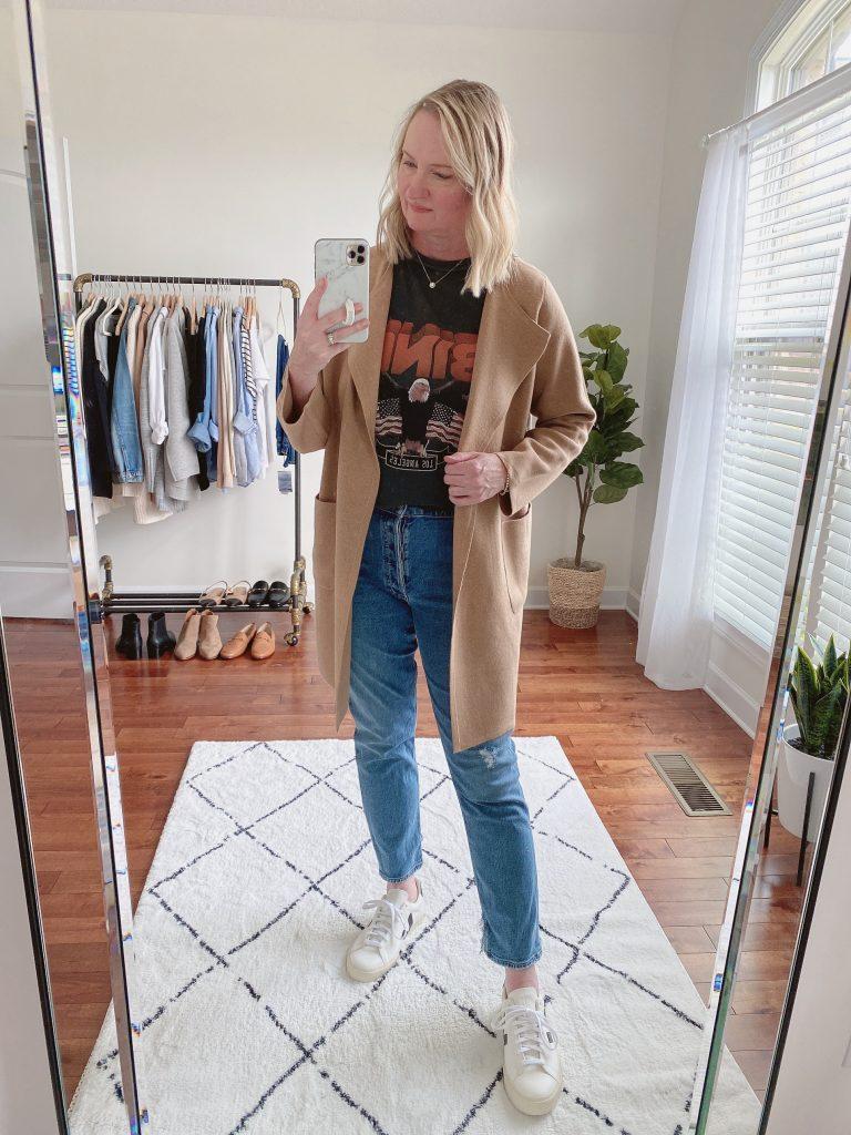 4 WAYS TO WEAR A COATIGAN - J Crew juliette sweater blazer slim straight jeans anine bing tee vega sneakers