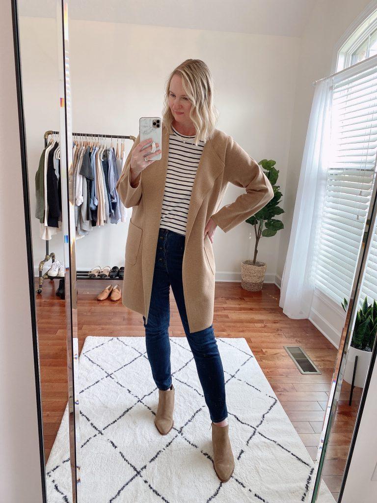 4 WAYS TO WEAR A COATIGAN - juliette sweater blazer j crew factory striped girlfriend tee dark wash jeans booties