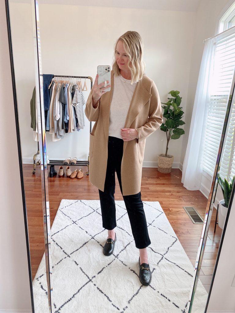 4 WAYS TO WEAR A COATIGAN - juliette sweater blazer j crew factory white girlfriend tee wit wisdom black pants gucci loafers