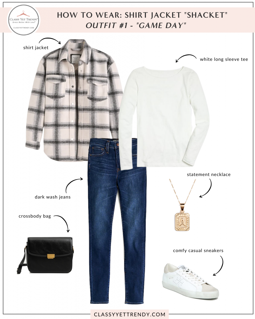 How To Wear - Shirt Jacket Shacket Outfit - Jeans Tee Chelsea Boots