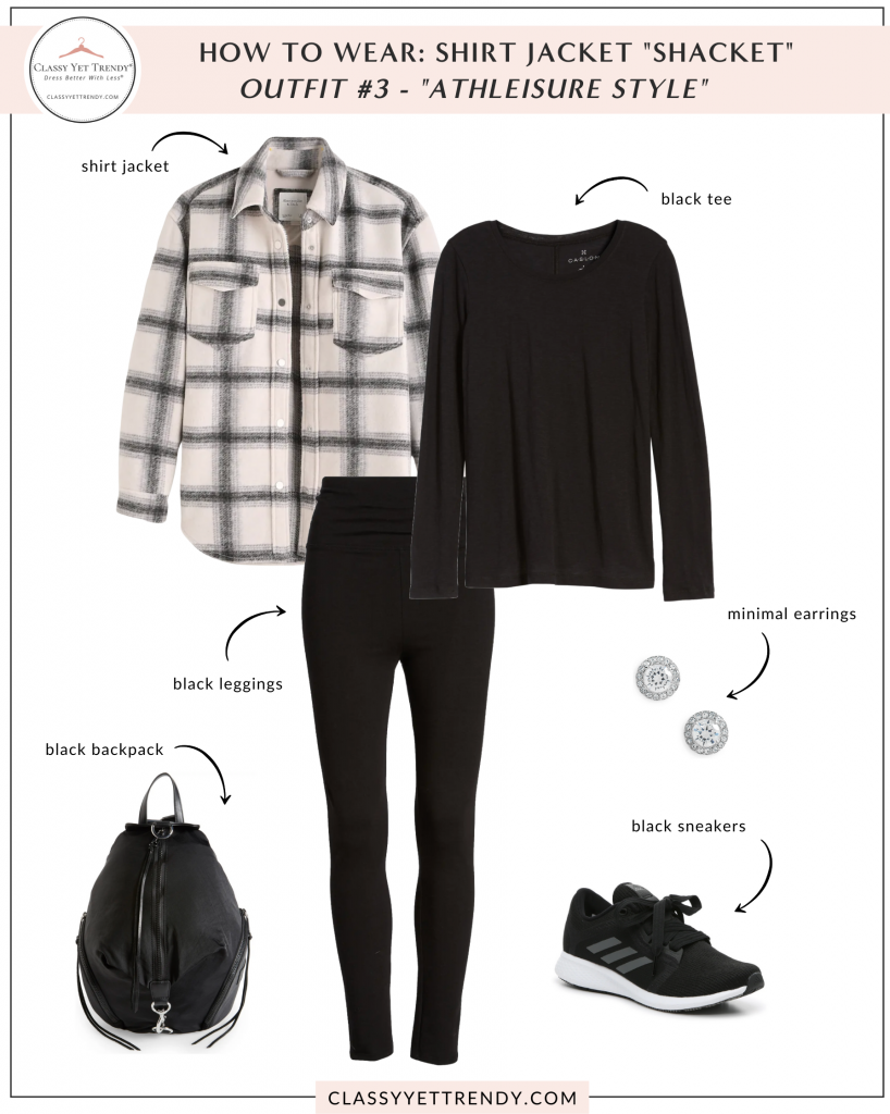 How To Wear - Shirt Jacket Shacket Outfit - athleisure tee leggings sneakers