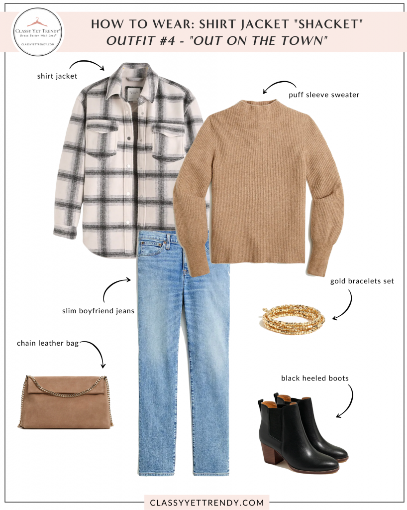How To Wear - Shirt Jacket Shacket Outfit - sweater jeans boots
