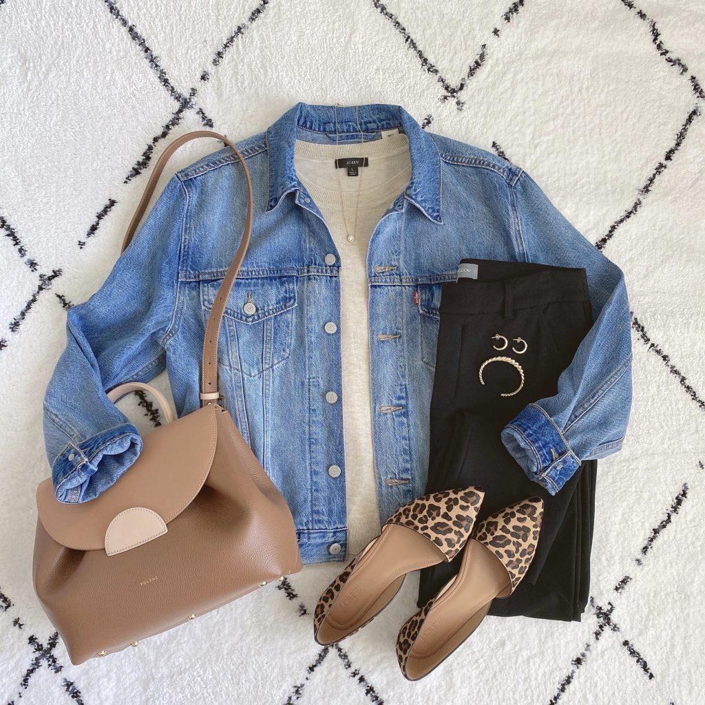 Instagram Lately September 2021 - J Crew short sleeve sweater black jeans Levis denim jacket Polene bag leopard flats