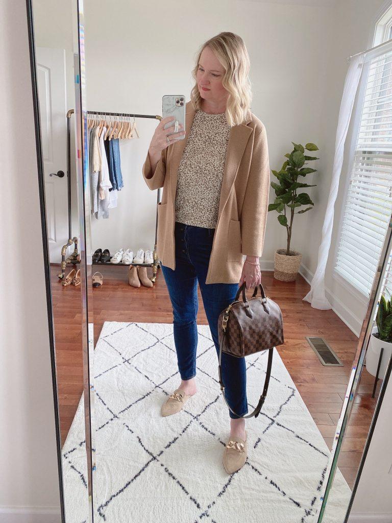 Instagram Lately September 2021 - Leopard Tee Sweater Blazer Jeans Mules