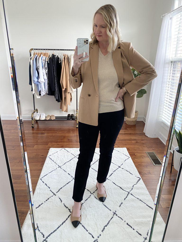 Instagram Lately September 2021 - Lilysilk sweater tan blazer black jeans cap toe flats