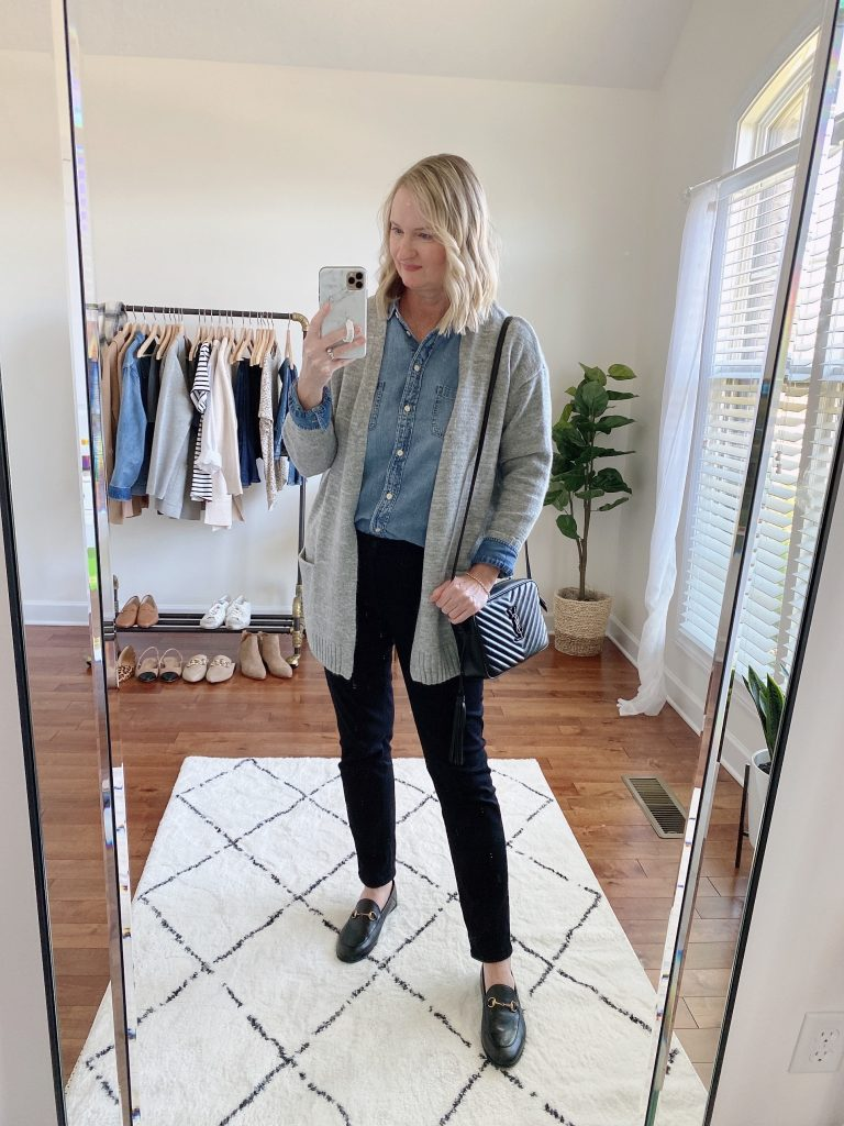 Instagram Lately September 2021 - chambray shirt gray cardigan black jeans Gucci loafers