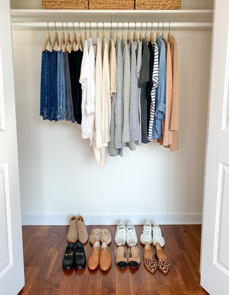 My 29-Piece Neutral Fall 2021 Capsule Wardrobe - closet front
