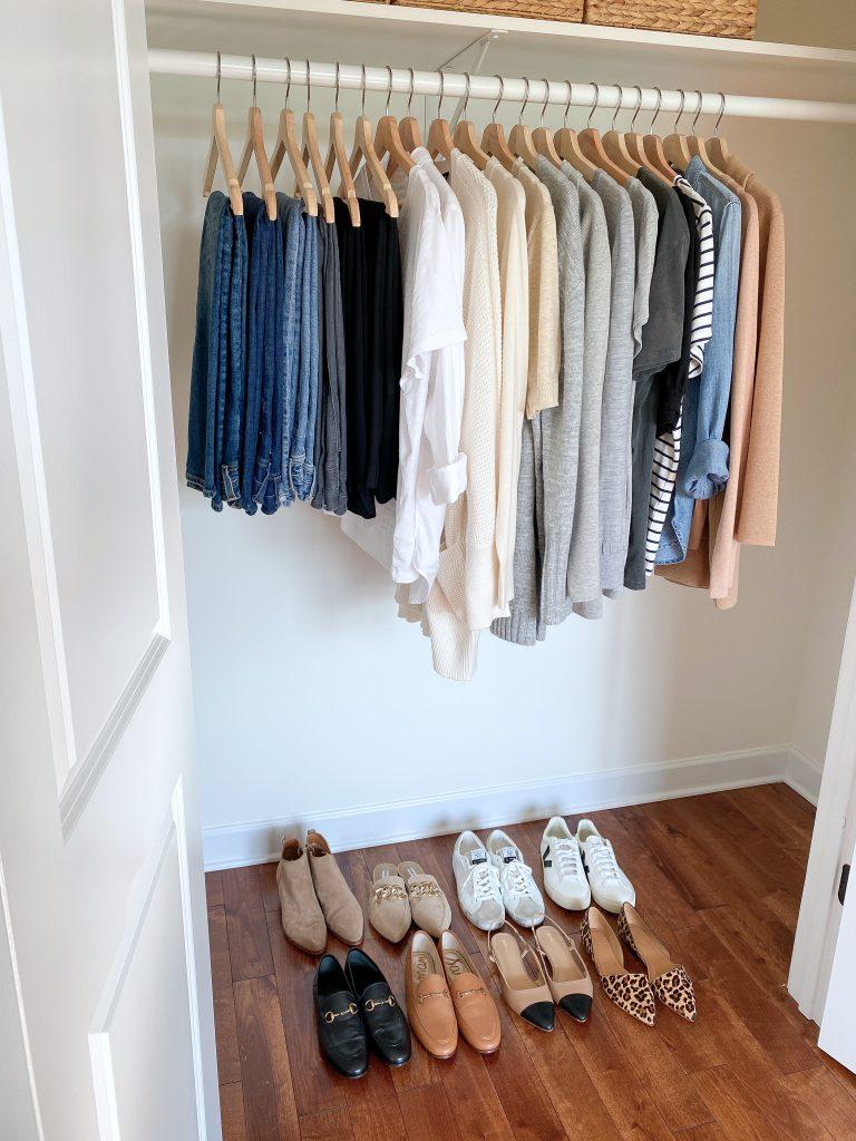 My 29-Piece Neutral Fall 2021 Capsule Wardrobe - closet side