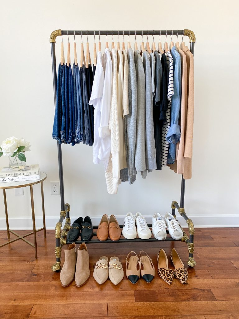 My 29-Piece Neutral Fall 2021 Capsule Wardrobe - clothes rack front