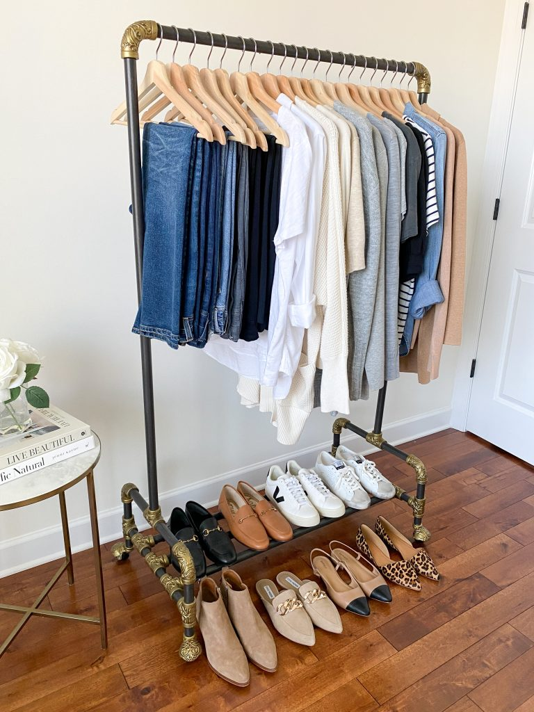My 29-Piece Neutral Fall 2021 Capsule Wardrobe - clothes rack side