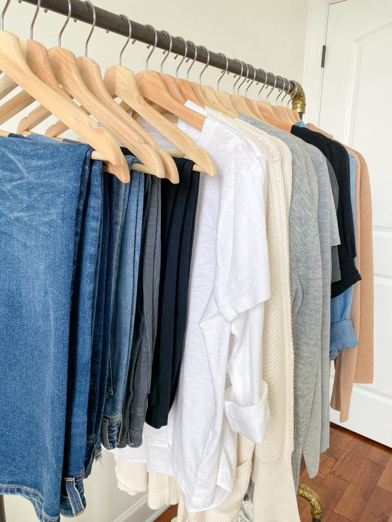 My 29-Piece Neutral Fall 2021 Capsule Wardrobe - clothes rack side closeup