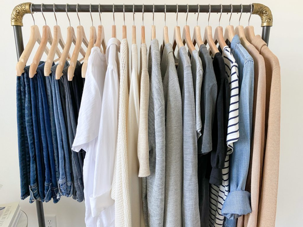 My 29-Piece Neutral Fall 2021 Capsule Wardrobe - clothes rack tops bottoms