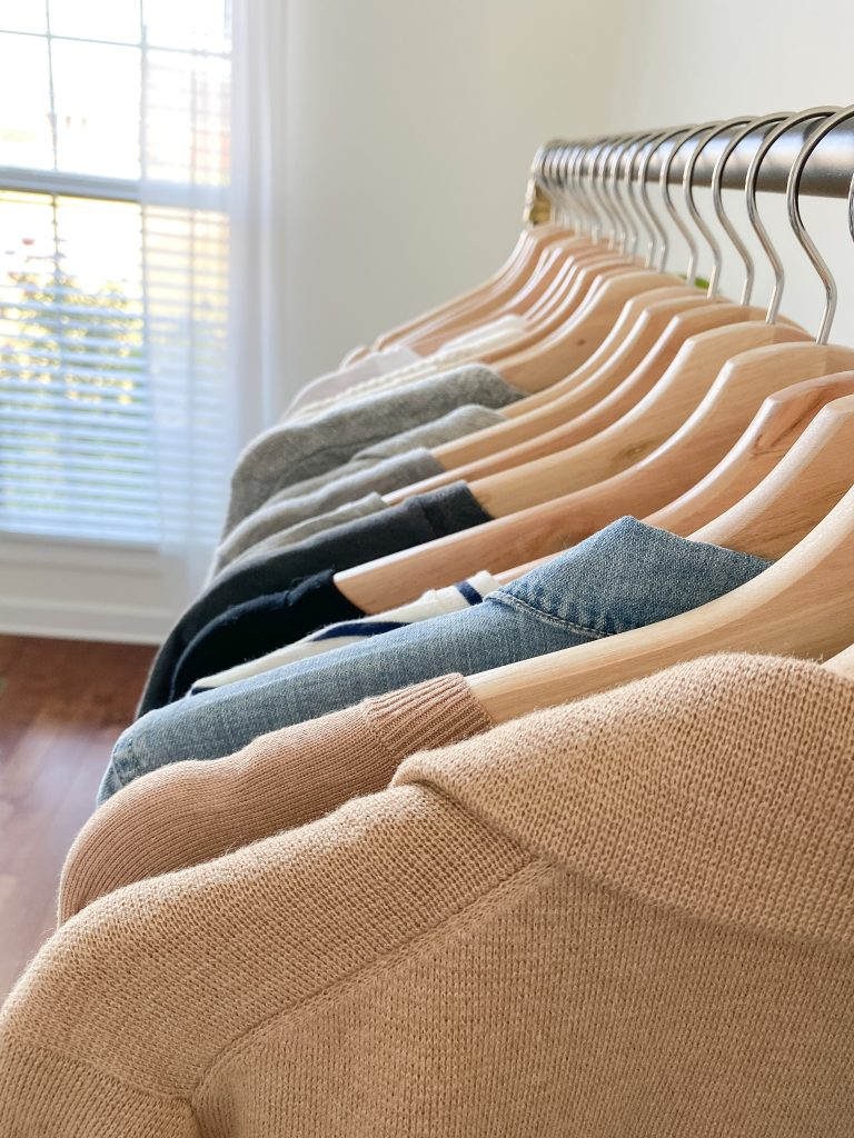 My 29-Piece Neutral Fall 2021 Capsule Wardrobe - clothes rack tops lineup