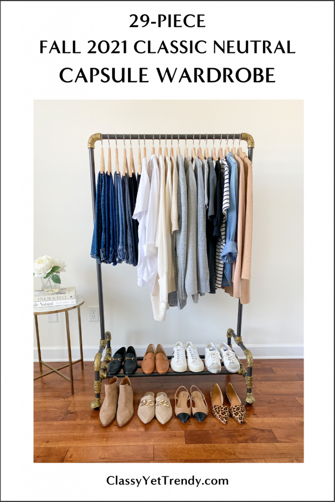 My 29-piece FALL 2021 Classic Neutral Capsule Wardrobe clothes rack