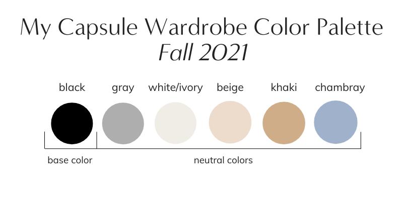 My Capsule Wardrobe Color Palette Fall 2021