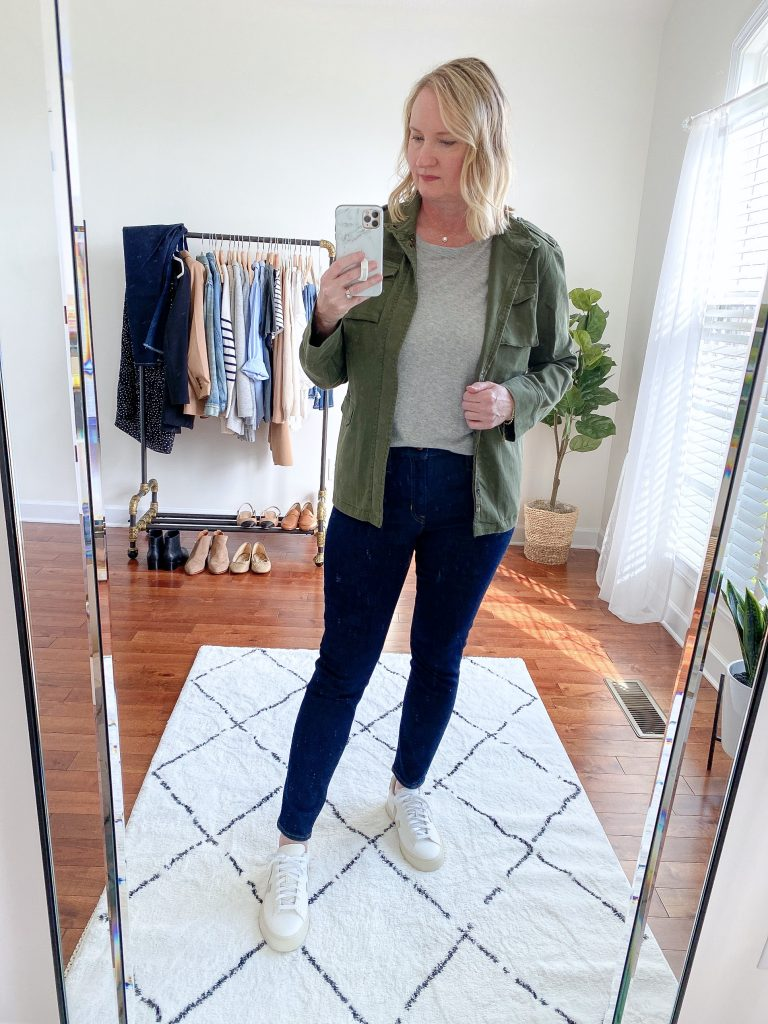 Try-On Session September 2021 - Anine Bing Utility Jacket J Crew Toothpick Jeans Veja Campo Sneakers