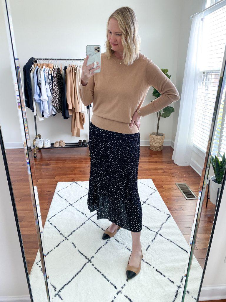 Try-On Session September 2021 - Banana Republic Silk Sweater Amazon Dot Skirt Cap Toe Flats