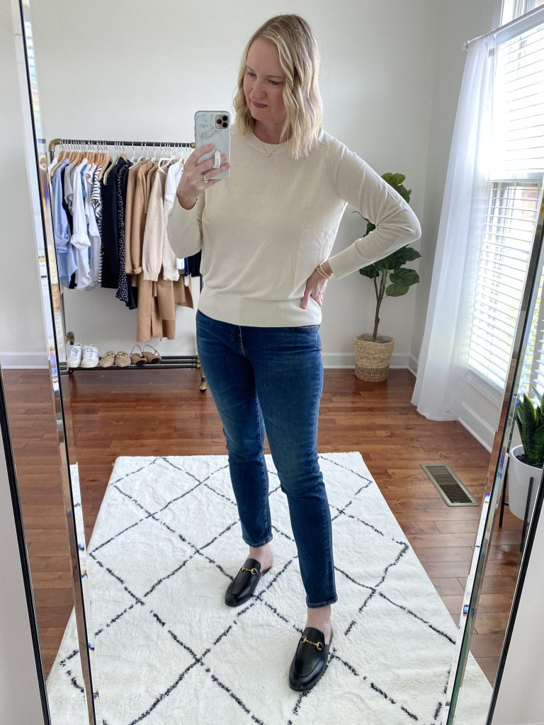 Try-On Session September 2021 - Banana Republic Sweater AG Cigarette Blue Jeans Gucci Princetown Mules