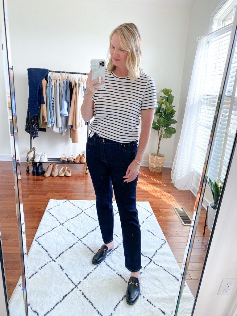 Try-On Session September 2021 - J Crew Slim Straight Jeans Factory Striped Tee Gucci Princetown Mules