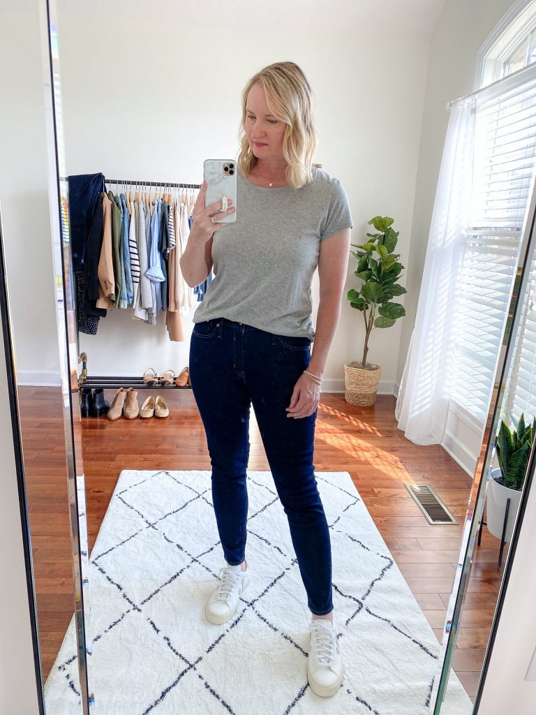 Try-On Session September 2021 - J Crew Toothpick Jeans Halogen Tee Veja Campo Sneakers
