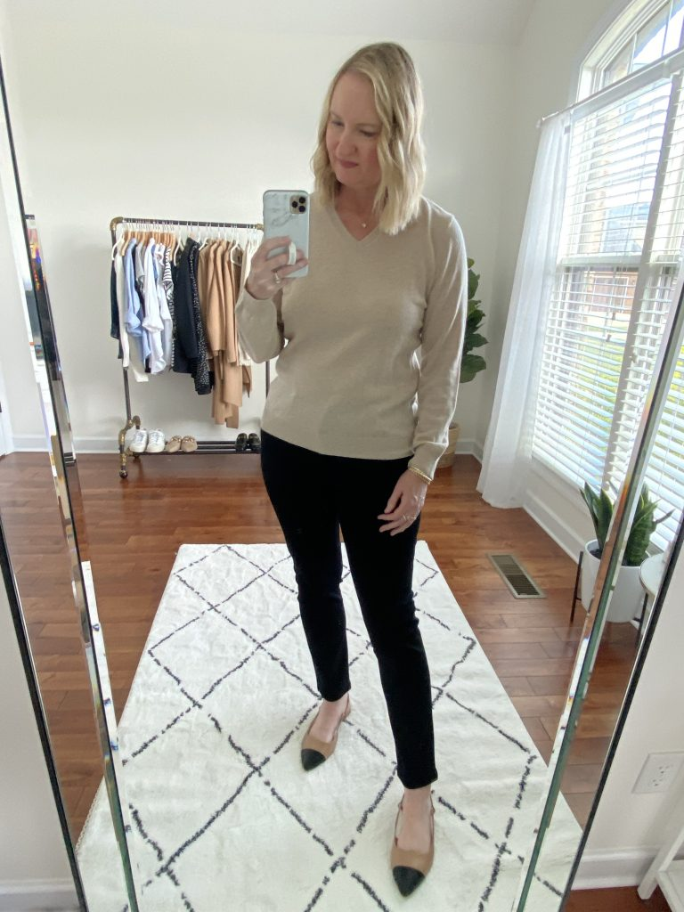 Try-On Session September 2021 - Lilysilk Sweater AG Cigarette Black Jeans Express Cap Toe Flats